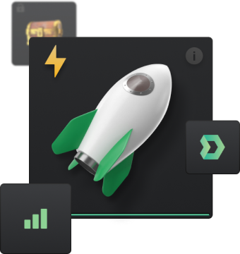 Image of rocket with DMarket icons